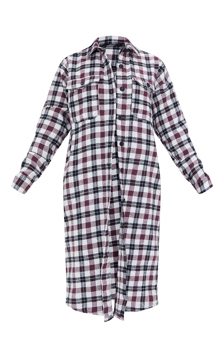 Red Check Button Down Maxi Shacket 5