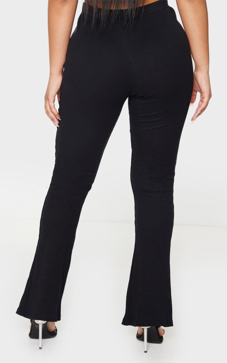 Petite Black Ribbed Wide Leg High Waisted Pants 3