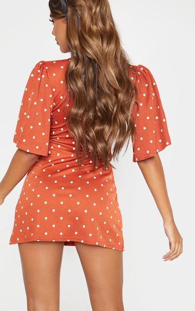 Terracotta Polka Dot Tie Wrap Tea Dress