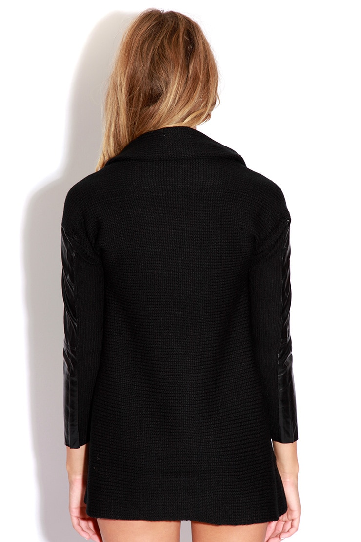 Emma Black Knitted Waterfall Cardigan 2