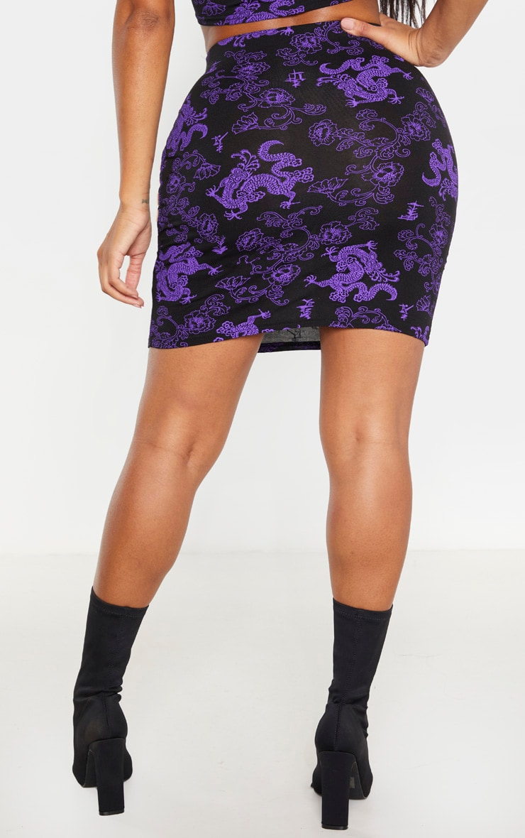 Shape Purple Dragon Print Bodycon Skirt 4