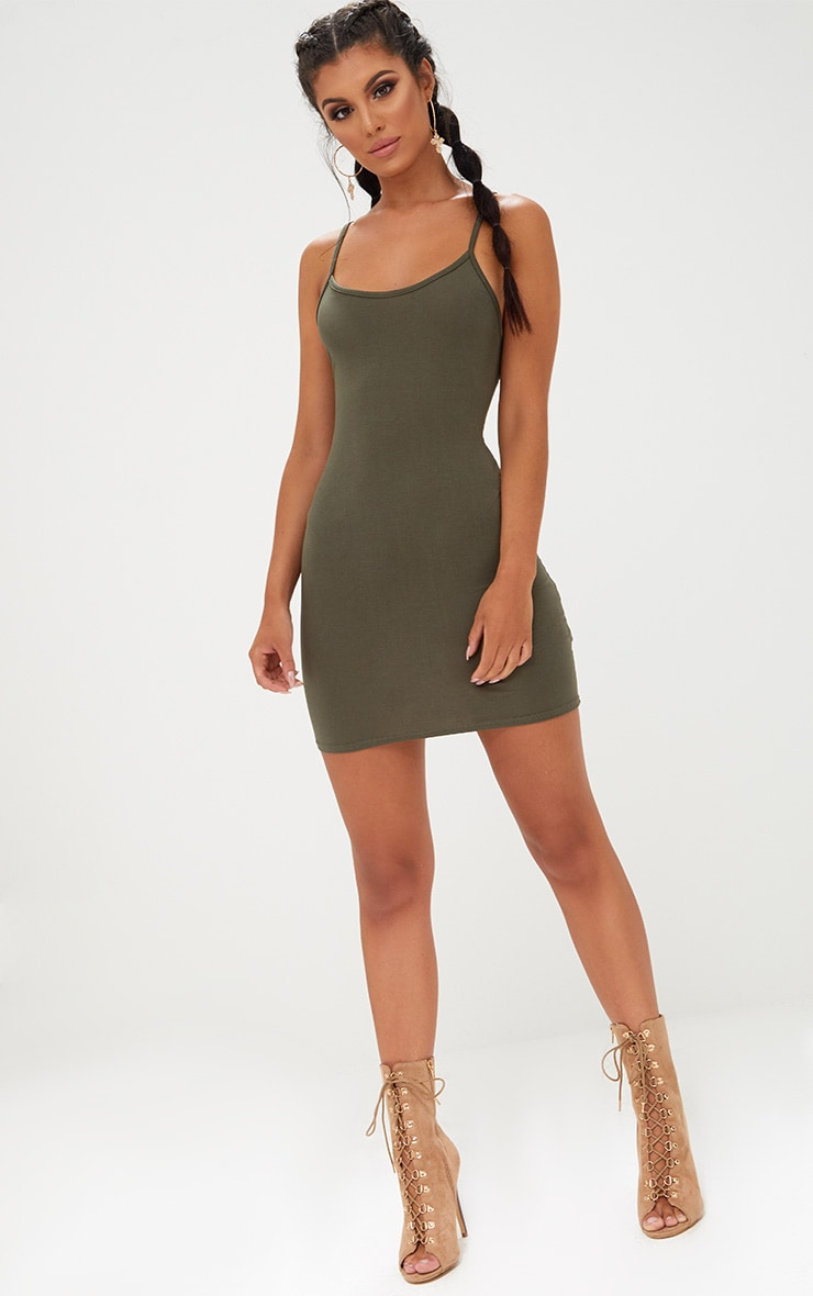 Khaki Strappy Bodycon Dress 4