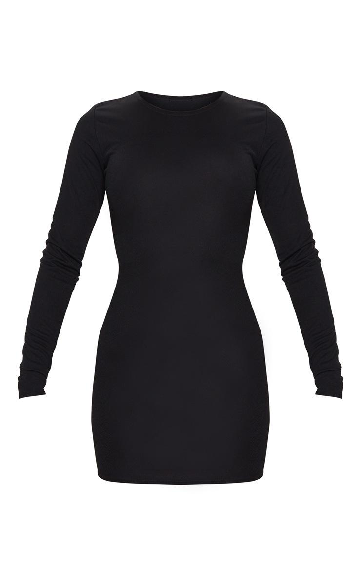 Basic Black Cotton Blend Long Sleeve Bodycon Dress 5