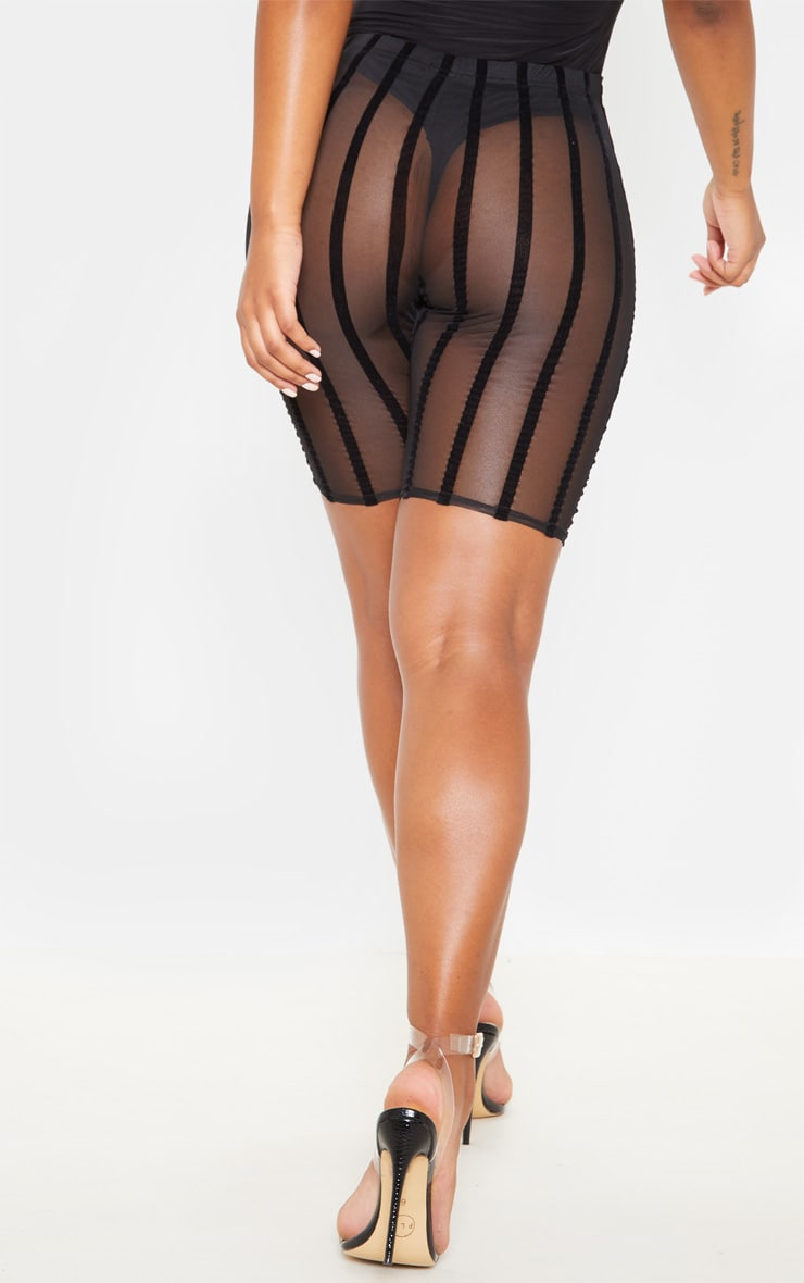 Black Mesh Striped Cycle Short  2