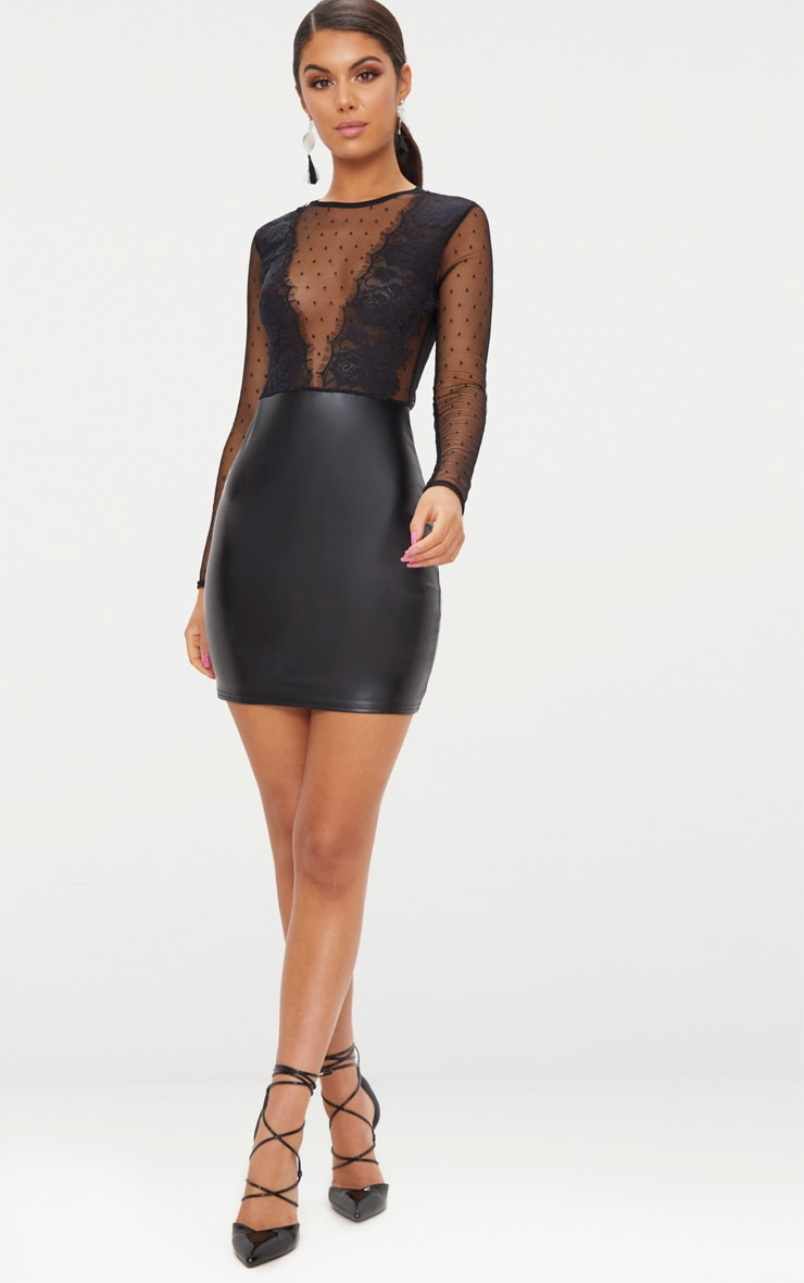Black Lace Top Long Sleeve PU Bodycon Dress  4