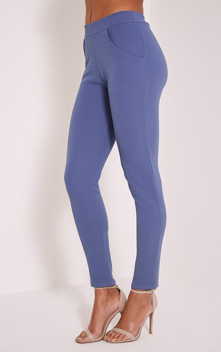 Sage Petrol Blue Crepe Cigarette Trousers 4