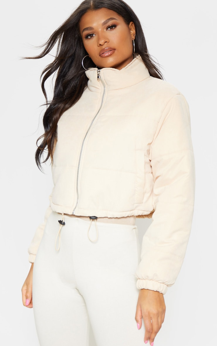 Cream Super Cropped Peach Skin Puffer 4