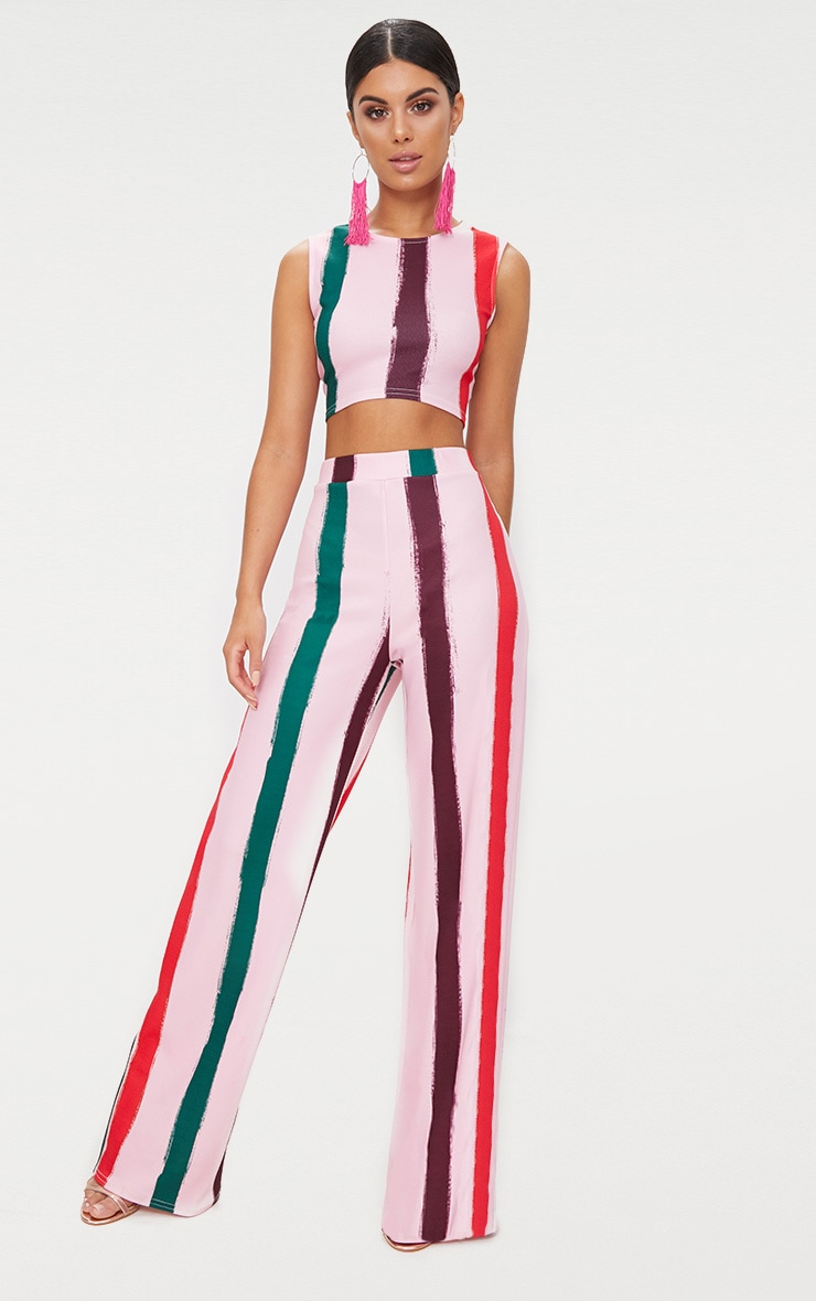 Light Pink Multi Thick Stripe Wide Leg Trousers  1