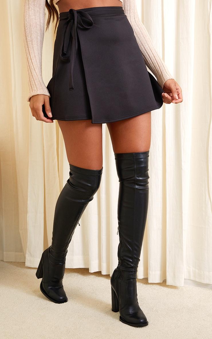 Black Wrap Scuba Mini Skirt 2