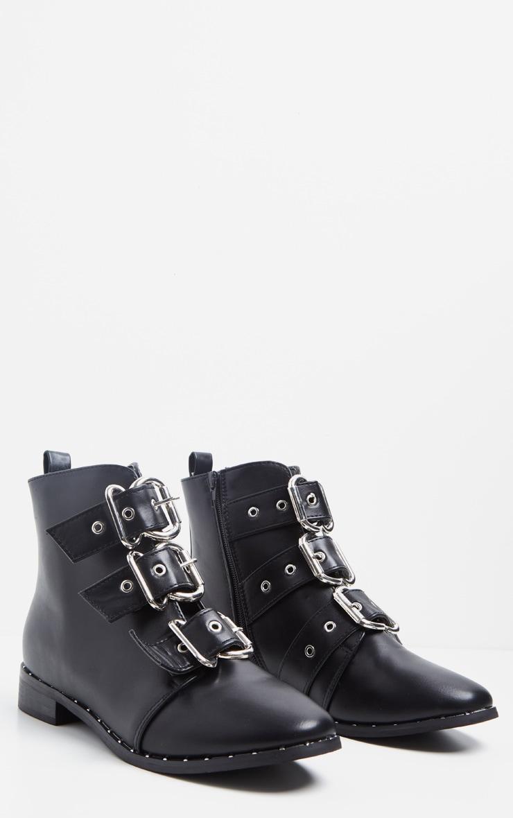 Black Triple Buckle Ankle Boot 3