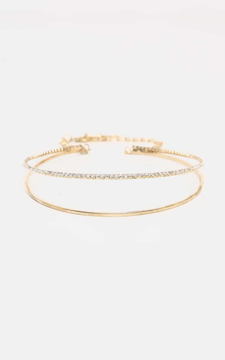 Gold Diamante Double Wrap Choker Necklace 3