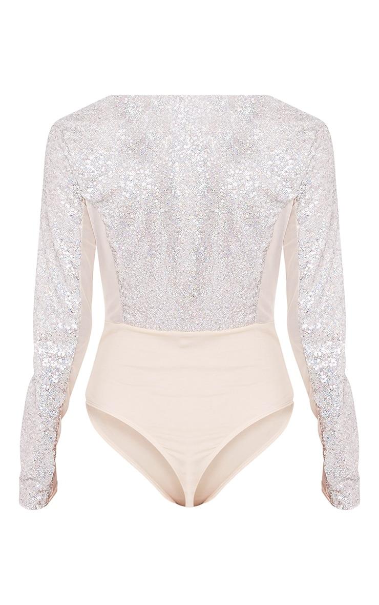 Kimberlyn Silver Sequin Plunge Mesh Thong Bodysuit 4