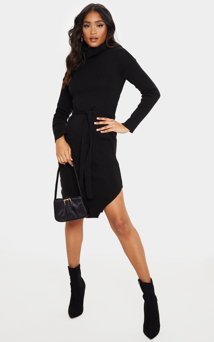 Black Roll Neck Belted Knitted Sweater Dress 1