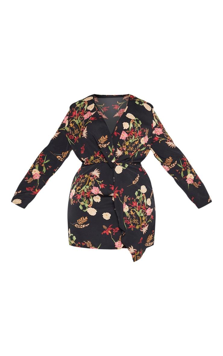 PLT Plus - Robe cache-coeur noire à imprimé floral style asiatique satinée à manches longues 3