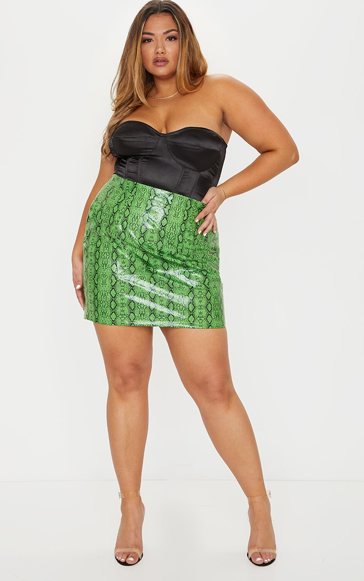 Plus Lime Faux Leather Snake Print Bodycon Skirt 1