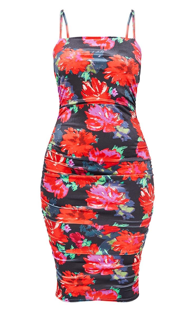 Black Floral Print Velvet Strappy Ruched Midi Dress 5