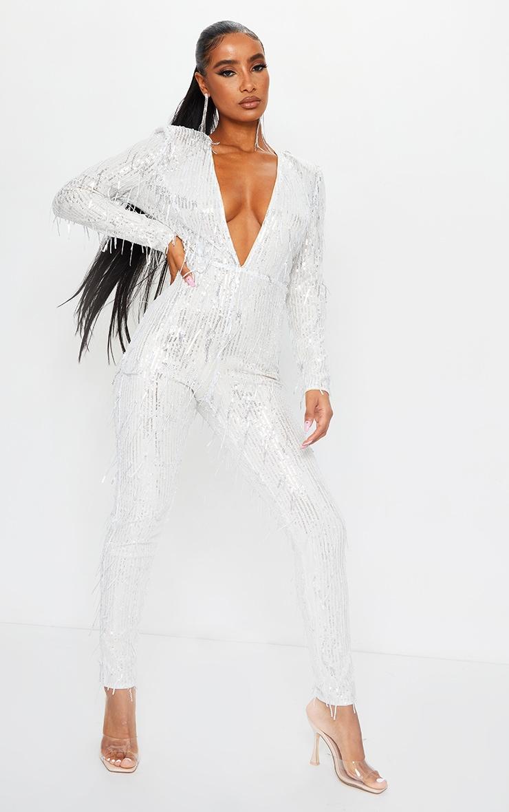 Silver Premium Tassel Sequin Plunge Shoulder Pad Jumpsuit 1