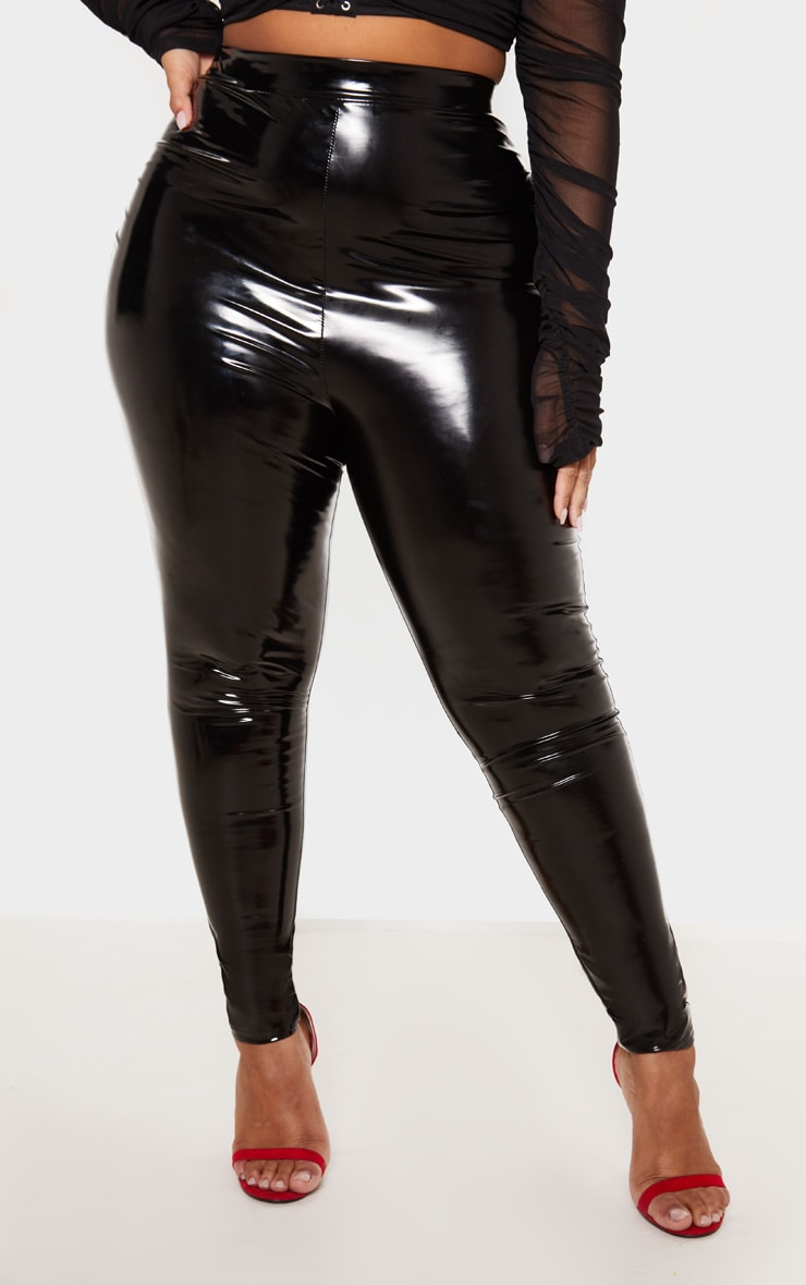 Plus Black Vinyl Leggings 3