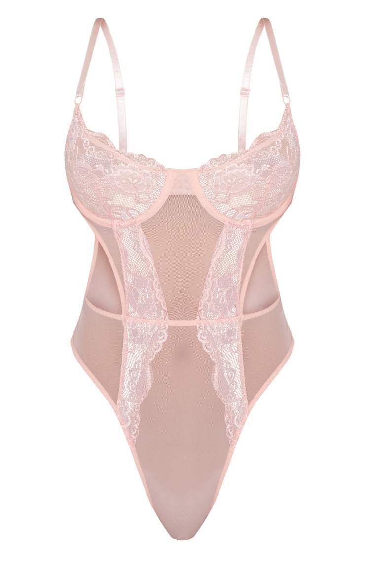 Baby Pink Lace Cup Cut Out High Leg Body 3