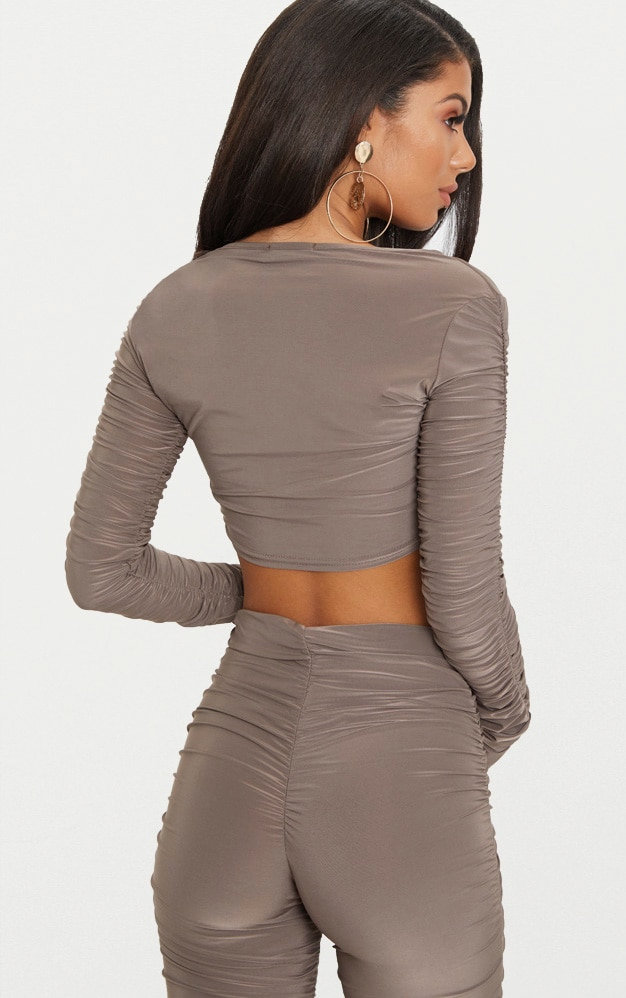 Mocha Lion Clasp Slinky Ruched Long Sleeve Crop Top  2
