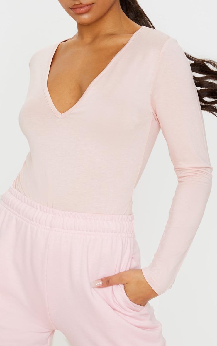 Basic Blush V Neck Long Sleeve Bodysuit 6