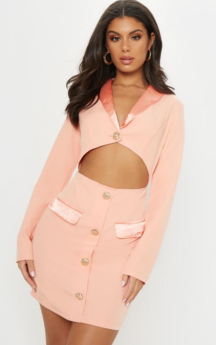 Peach Gold Button Satin Insert Cut Out Blazer Dress 1