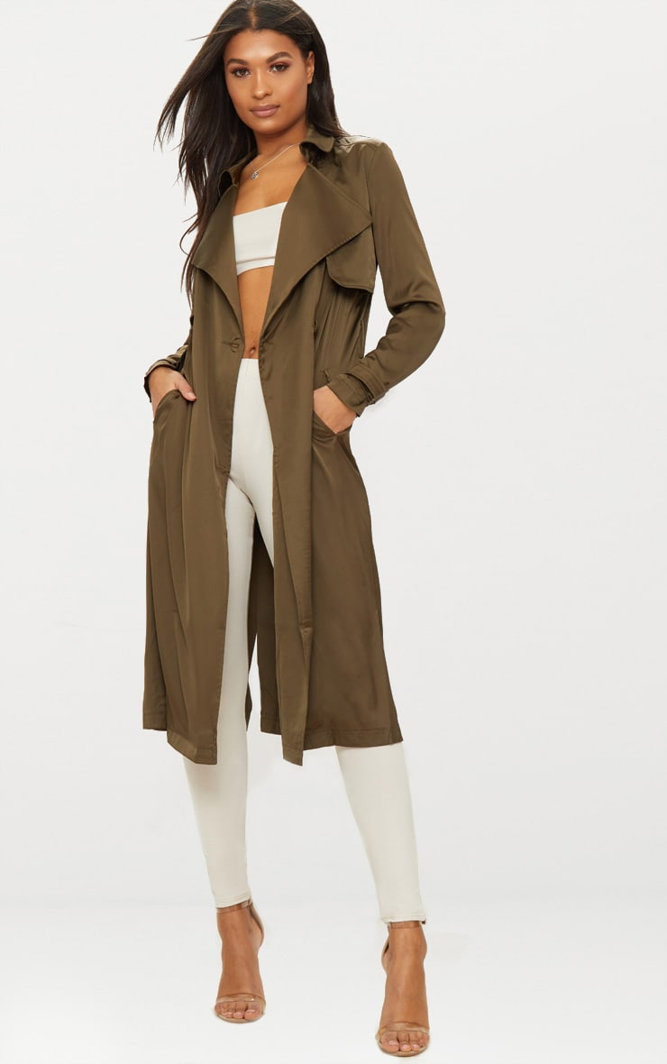 Khaki Satin Trench 1