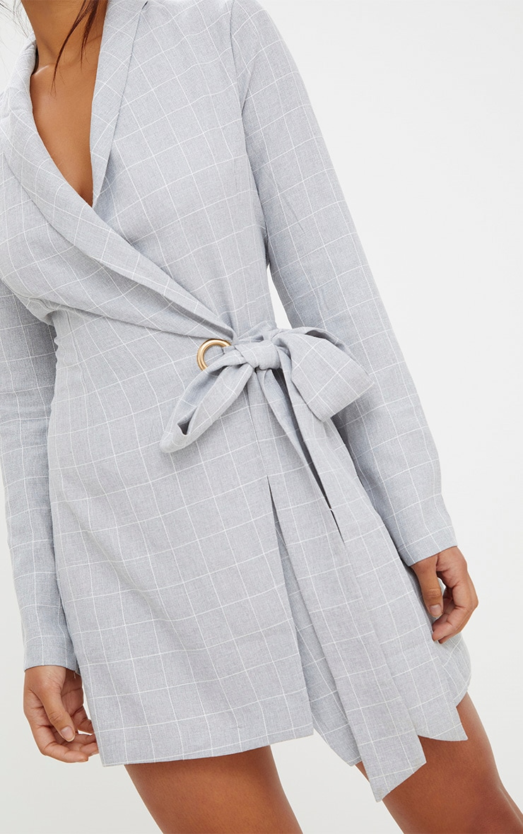 Grey Checked Blazer Dress 5