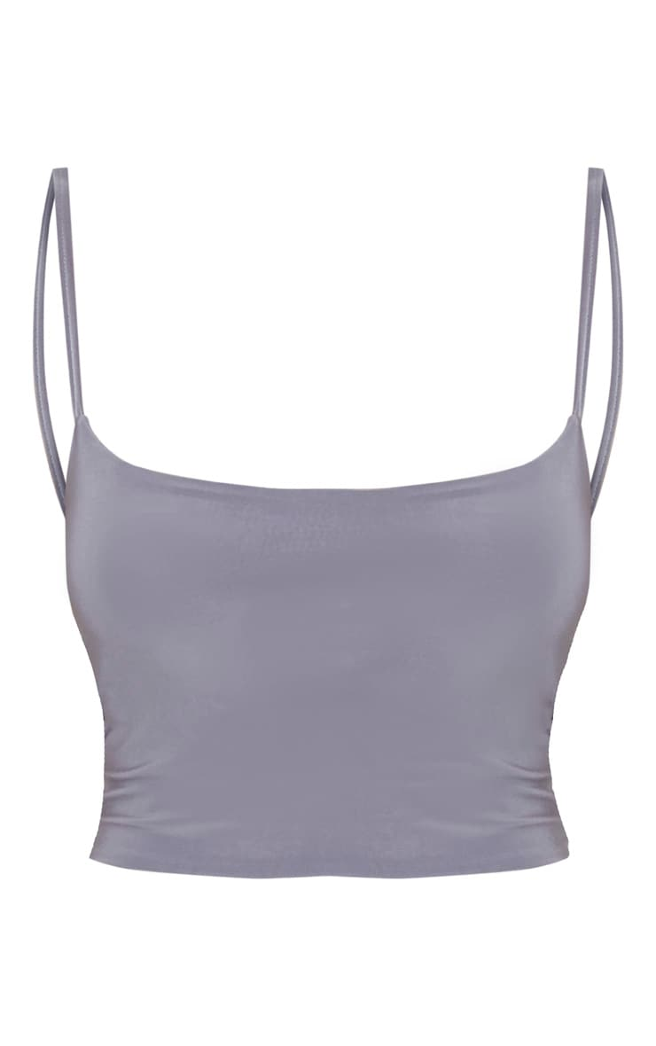 Grey Slinky Cami Crop Top 3
