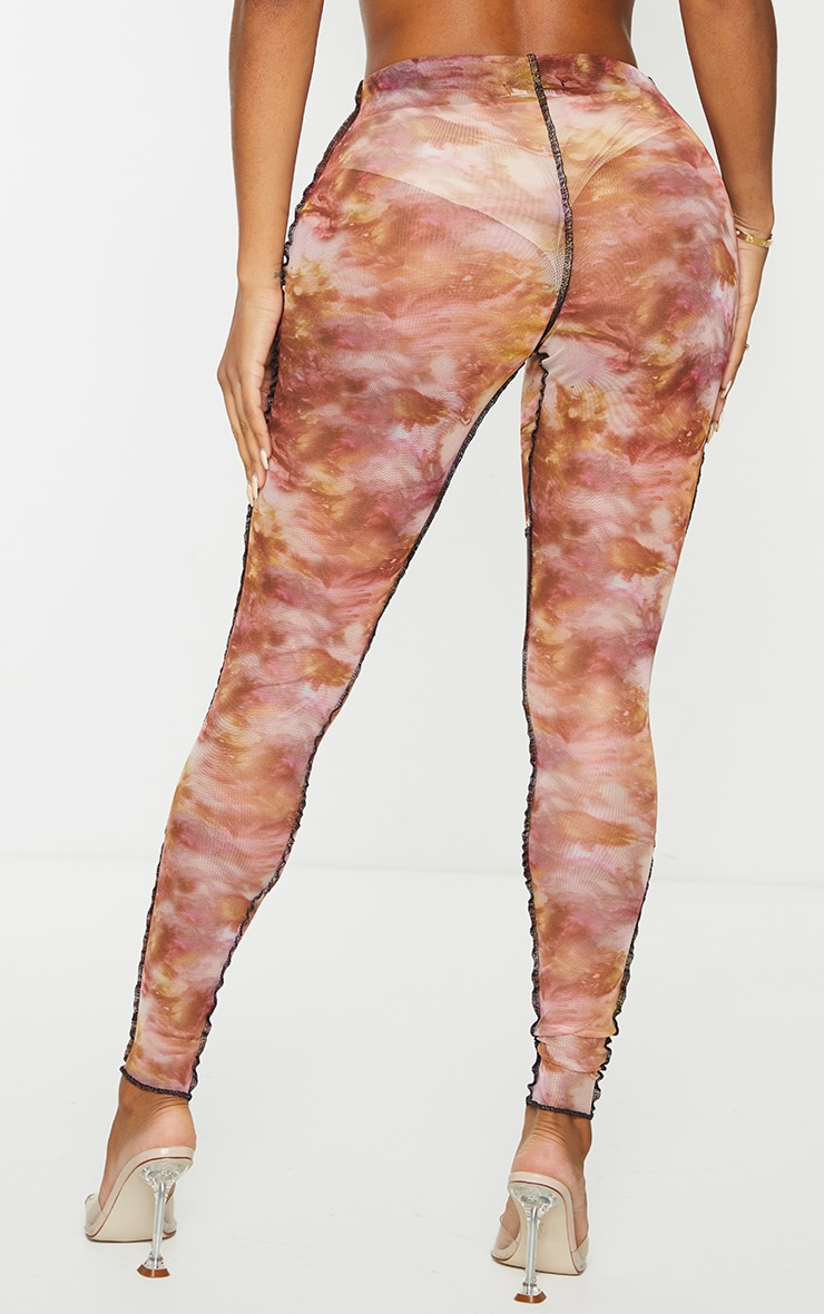 Shape Pink Tie Dye Sheer Mesh Contrast Stitch Leggings 5