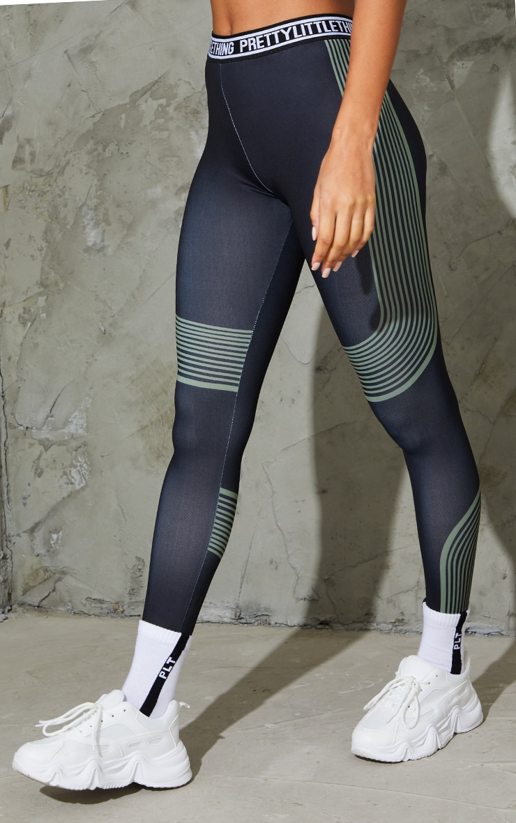 PRETTYLITTLETHING Khaki Stripe Contour Leggings 2