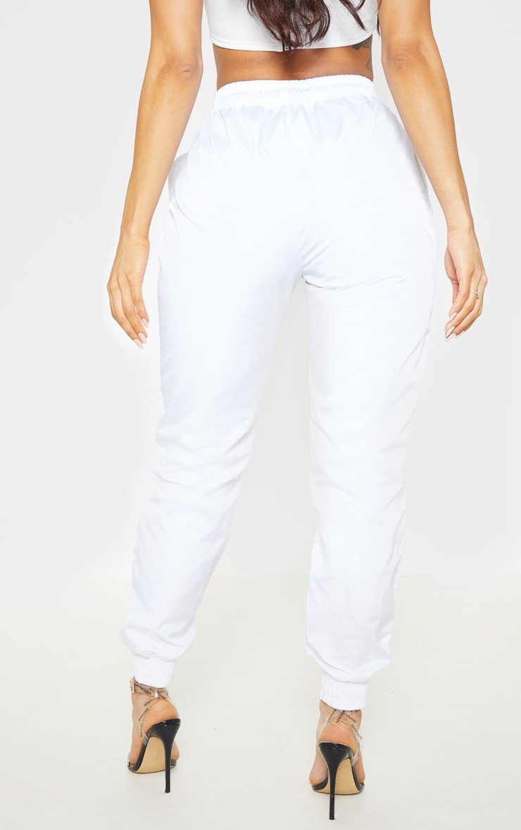 White Contrast Front Panel Shell Jogger 4