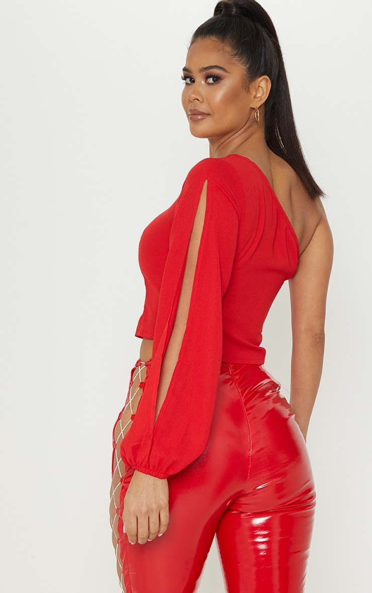 Red One Shoulder Blouse 2