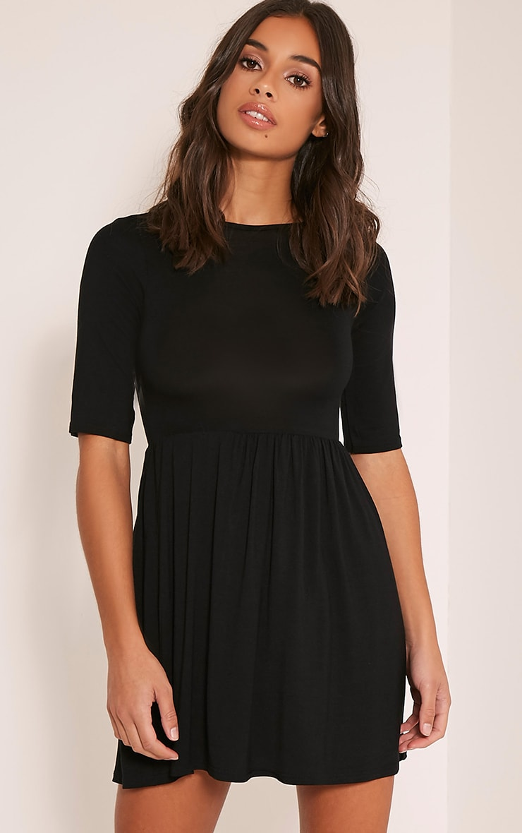 Petite Basic Black 3 4 Scoop Back Jersey Skater Dress image 1 d150219da
