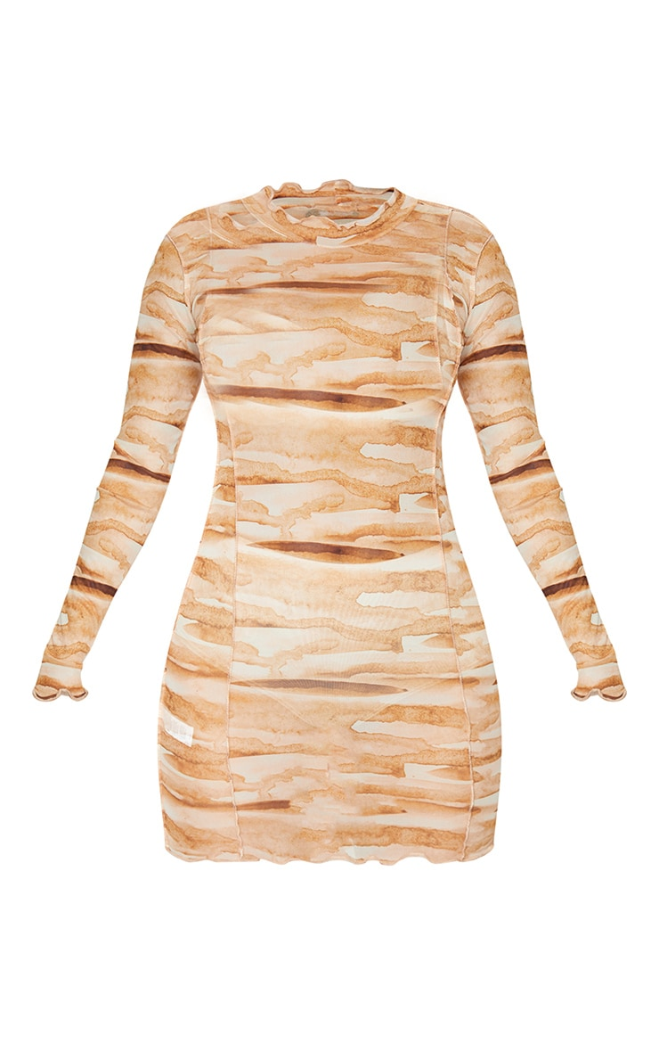Tan Tie Dye Mesh Frill Edge Detail Bodycon Dress 6