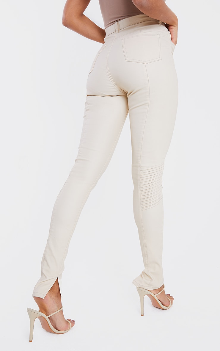 Stone Coated Long Leg Split Hem Biker Jeans 3