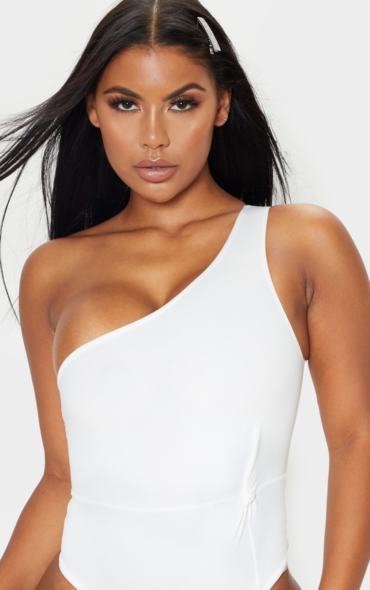 White One Shoulder Scuba Bodysuit 5