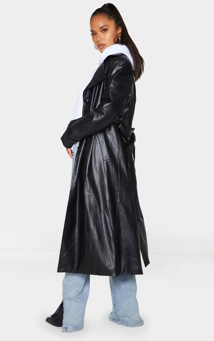 Black Faux Leather Collar Belted Maxi Trench 2