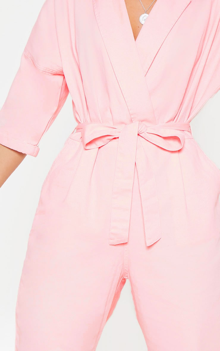 Dusty Pink Denim Utility Jumpsuit 5