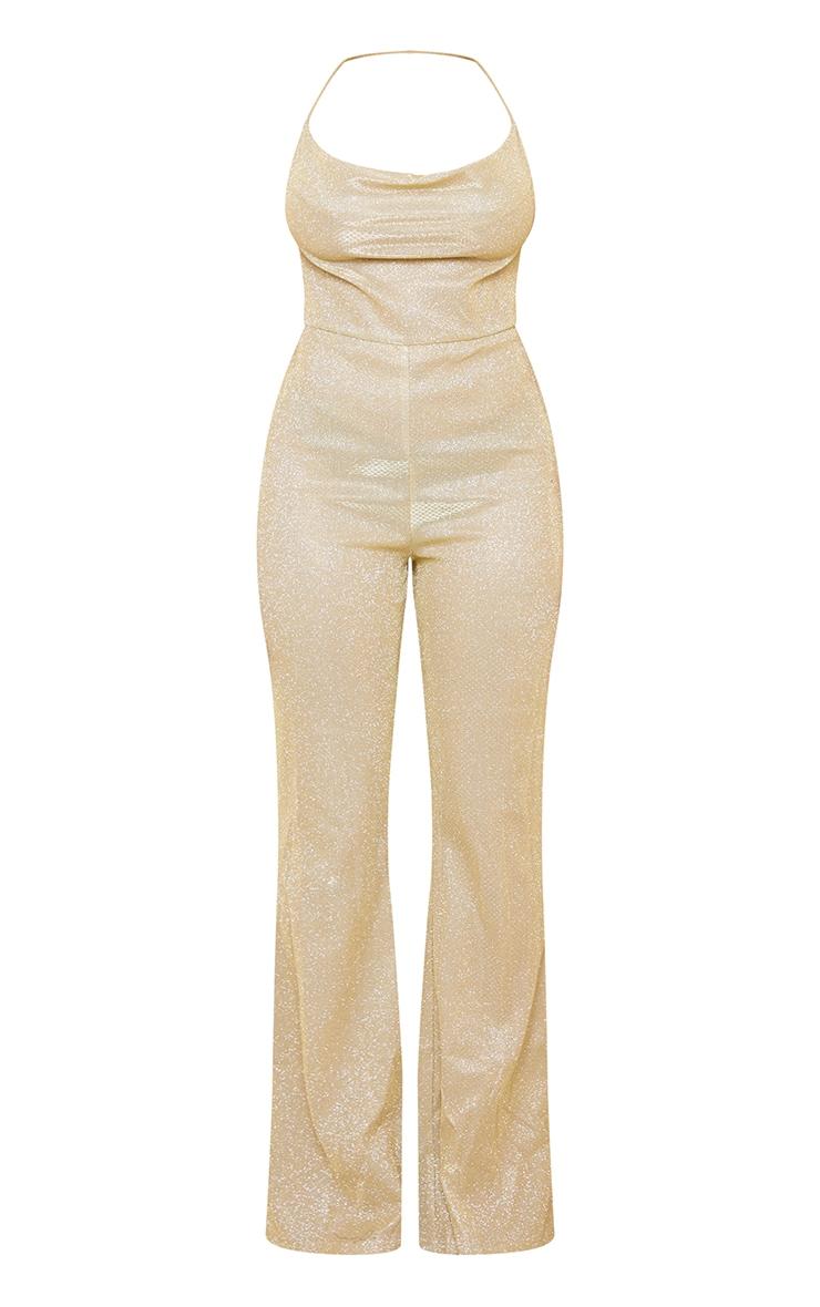 Shape Gold Glitter Diamante Trim Wide Leg Jumpsuit 5