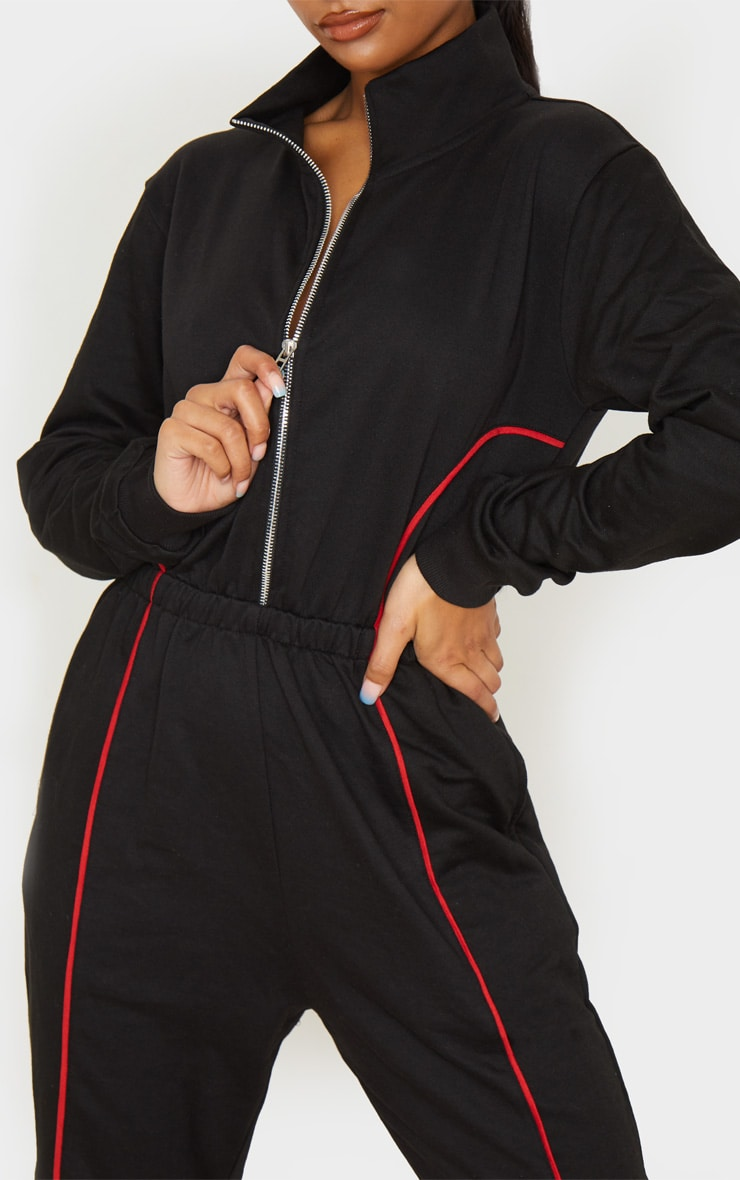Black Zip Detail Colour Block Sweat Jumpsuit 5