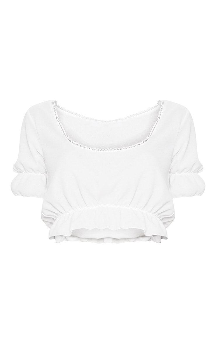 White Woven Square Neck Frill Crop Top  3