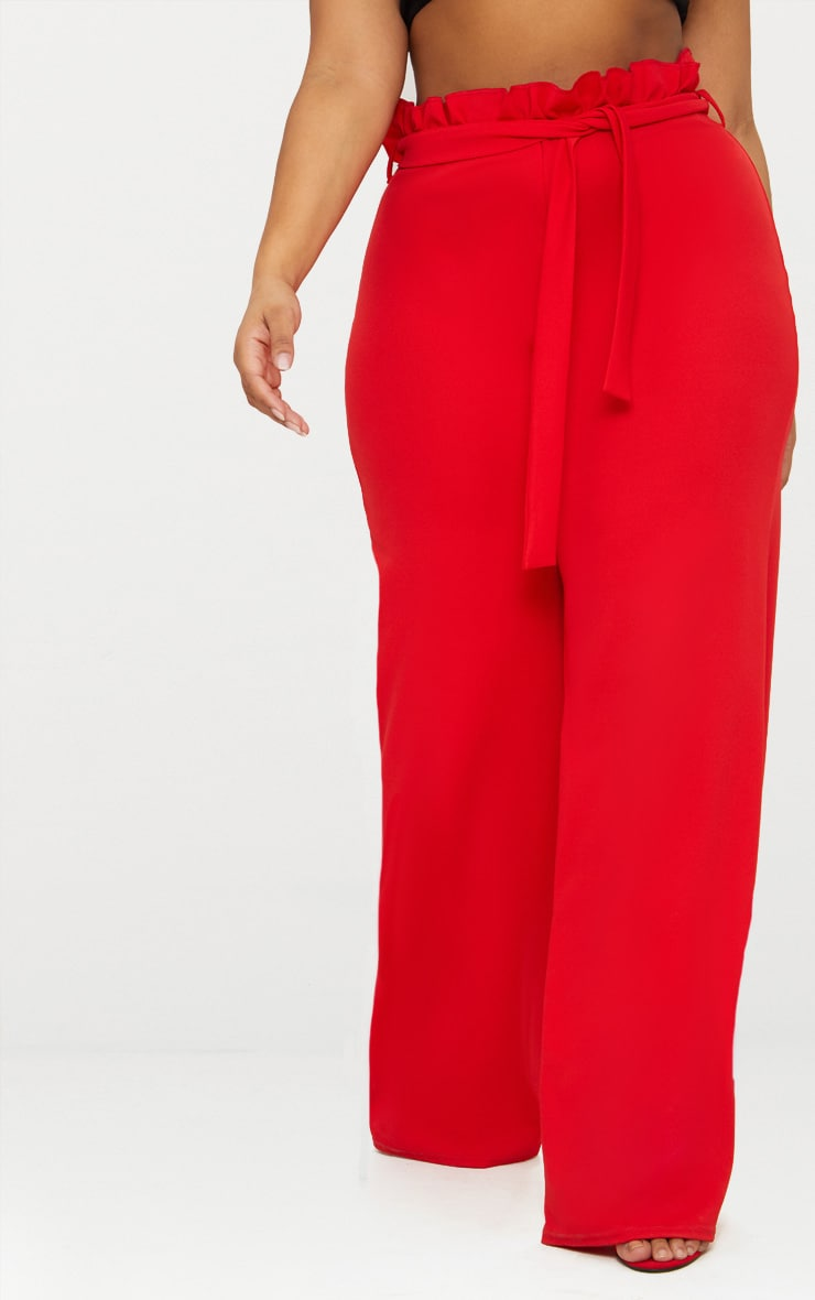 Plus Red Wide Leg Pants 3