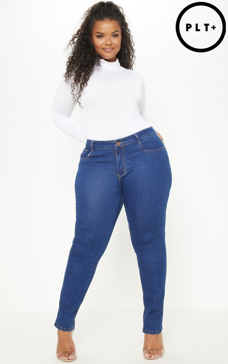 Plus Mid Wash Rise Skinny Jean  1