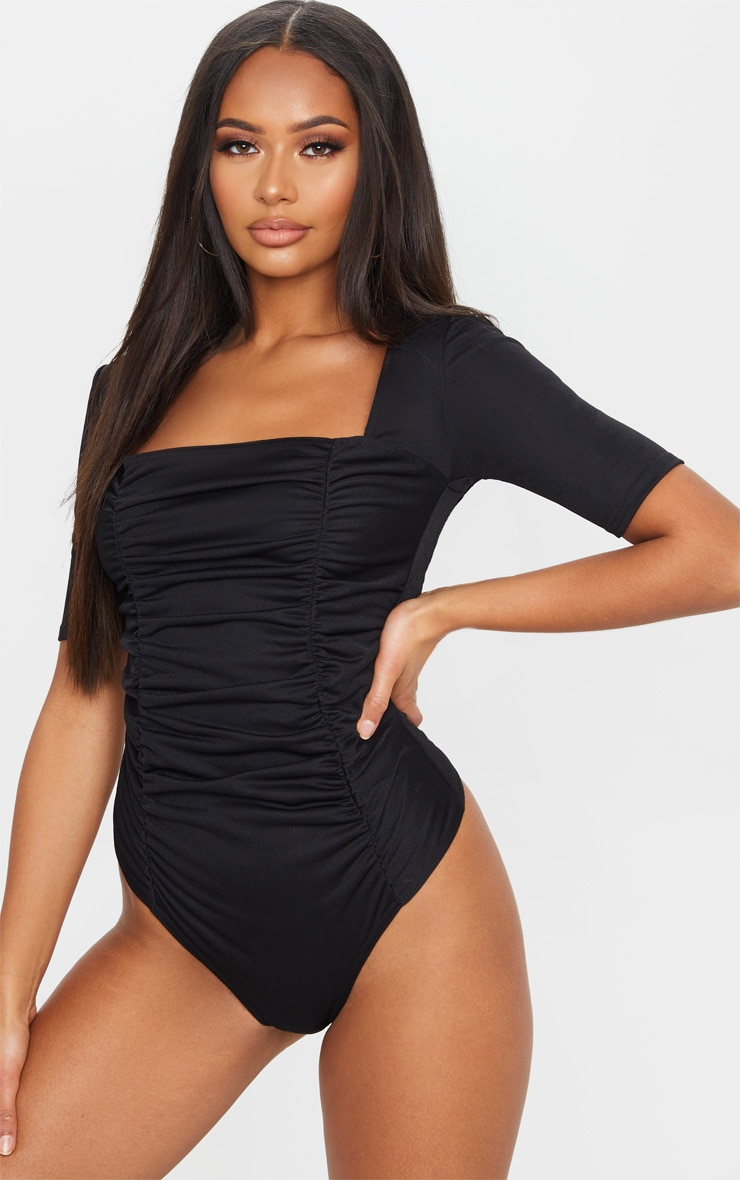 Black Ruched Short Sleeve Bodysuit 2