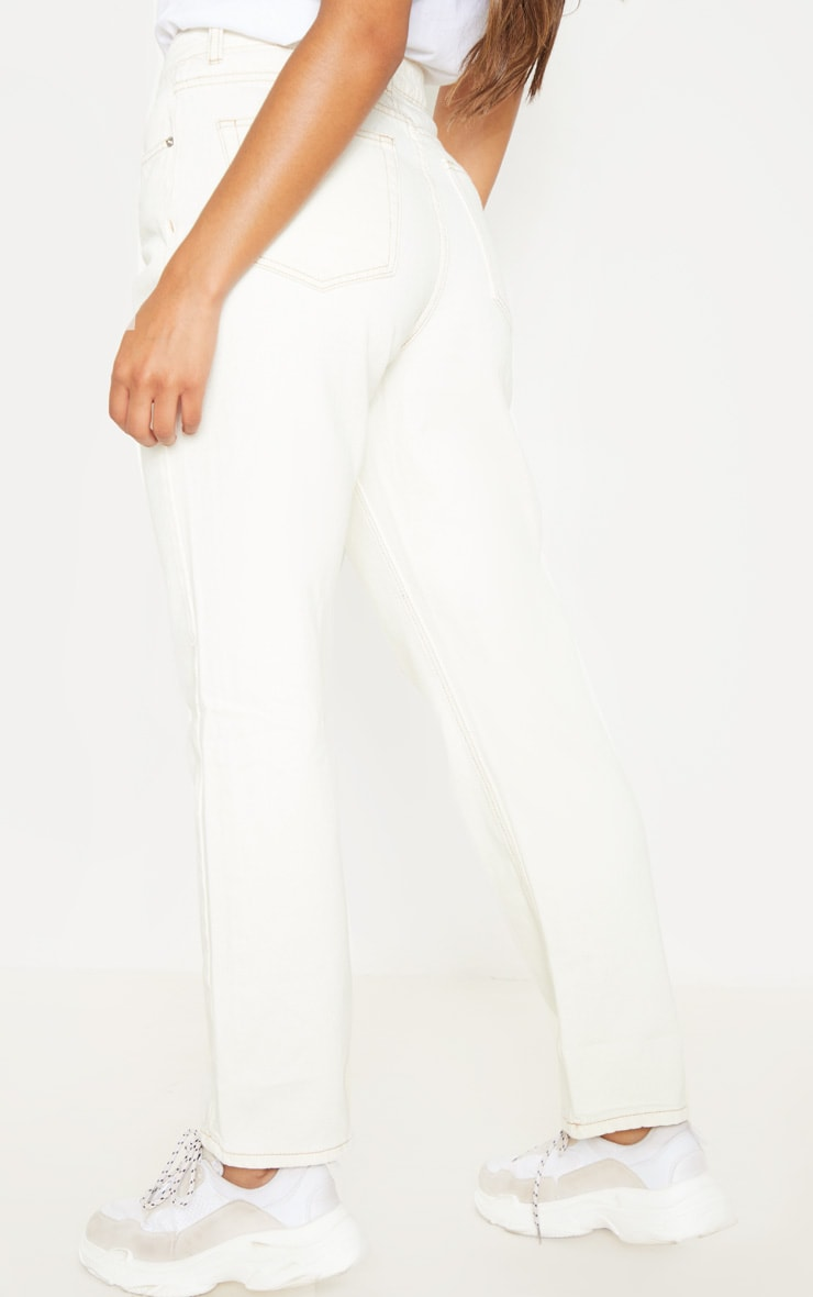 Ecru Straight Leg Cropped Jean 4