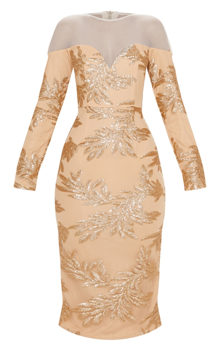 Gold Sequin Mesh Insert Midi Dress 3