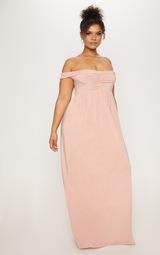 d5ebc2dd15fe9 Plus - Robe longue rose cendré à épaules nues. Plus ...