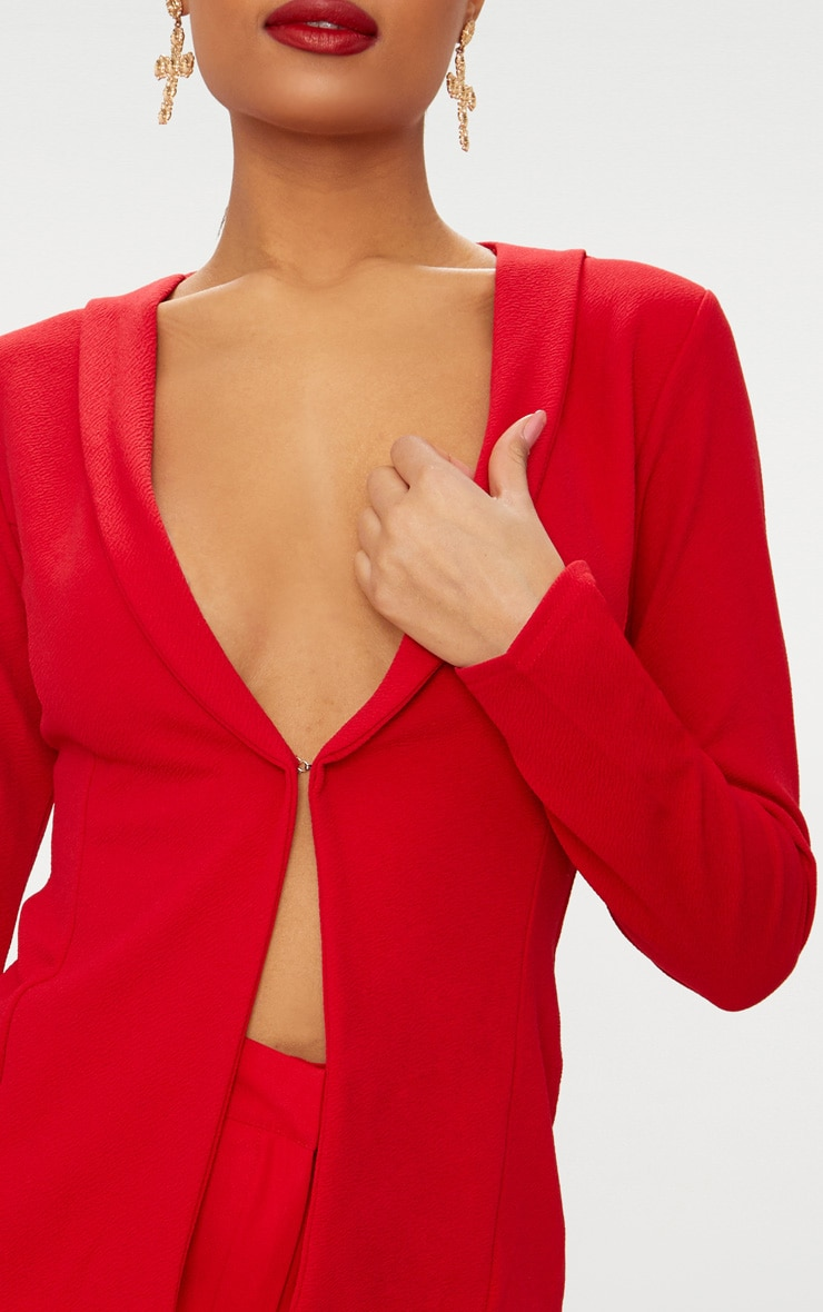 Red Lapel Hook and Eye Blazer 4