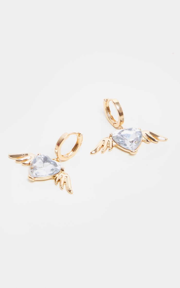 Gold Crystal Heart And Wings Charm Earrings 1